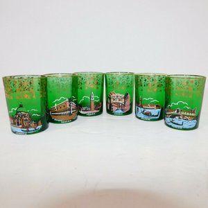 VTG Set 6 Venice Green Gold landmarks Shot Glasses